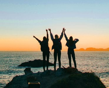 Three girls at the beach