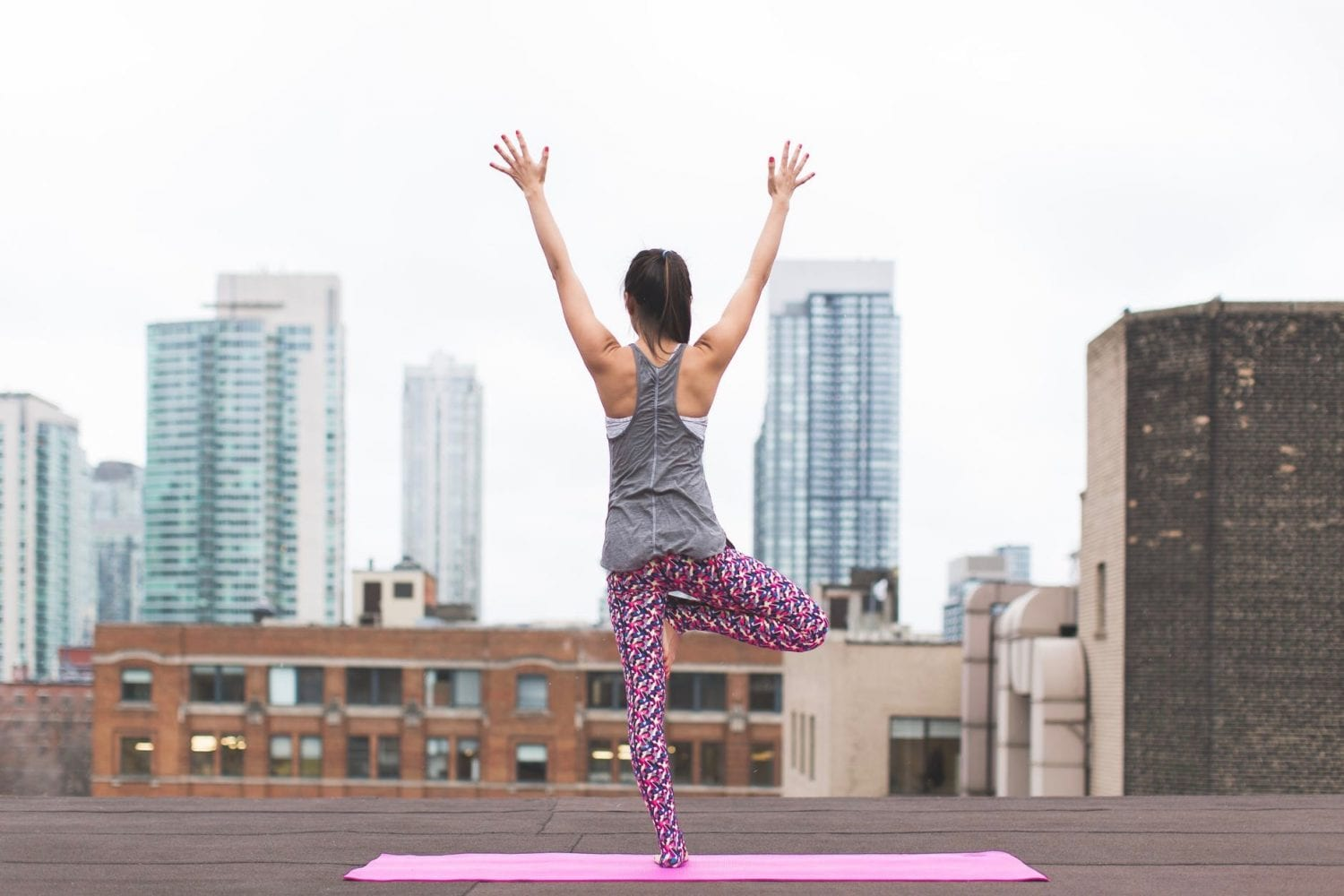 Woman Rooftop Yoga