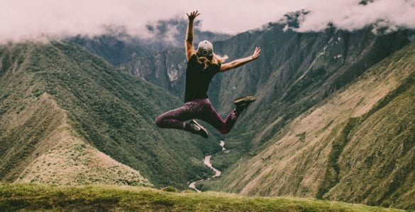 girl jumping outdoors