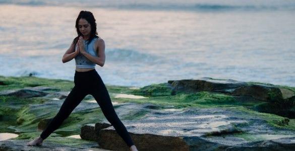 yoga on rocks