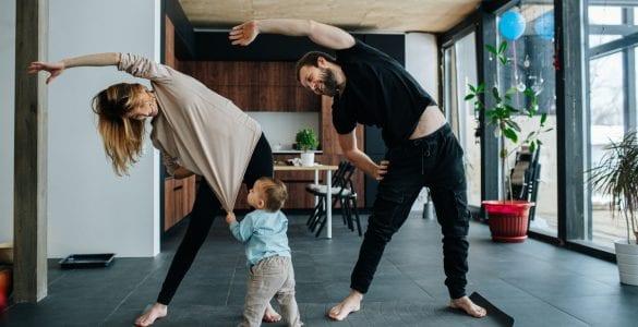 parents doing yoga