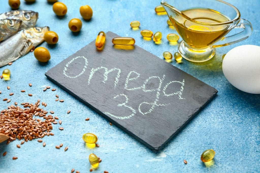 Fish, flax seeds, olives, and other sources of omega-3 fatty acids.