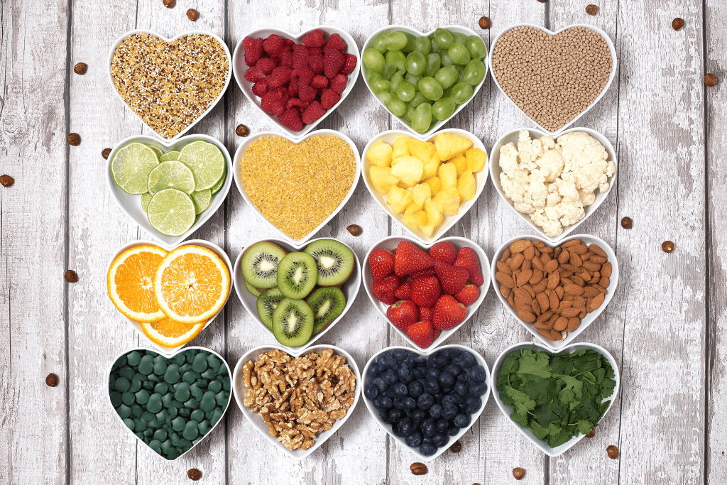 heart shaped bowls with various snacks