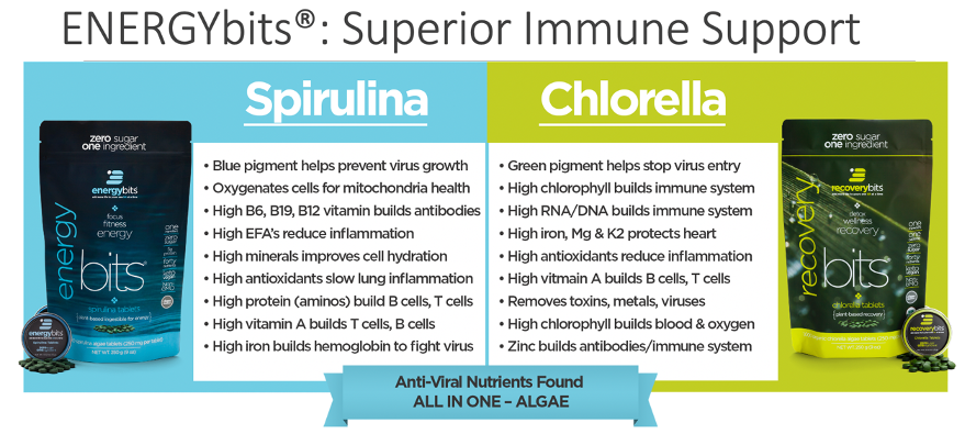 immune support chart with nutrients from algae