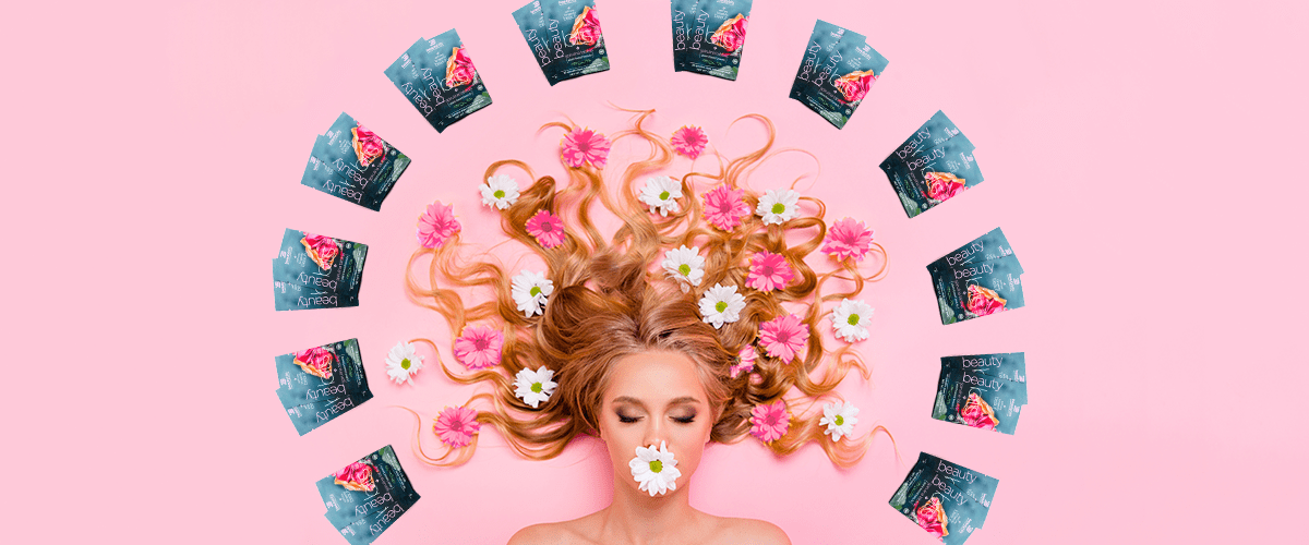 girl with flowers and algae in hair