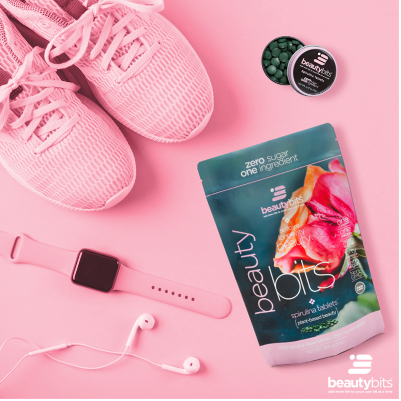 pink sneakers with BEAUTYbits spirulina