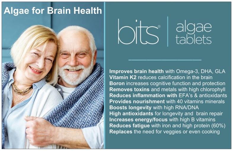 Algae for brain health card, two elderly people