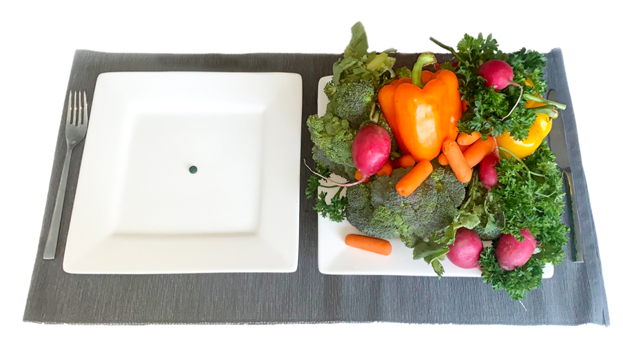 Plate with one algae tablet and plate with vegetables