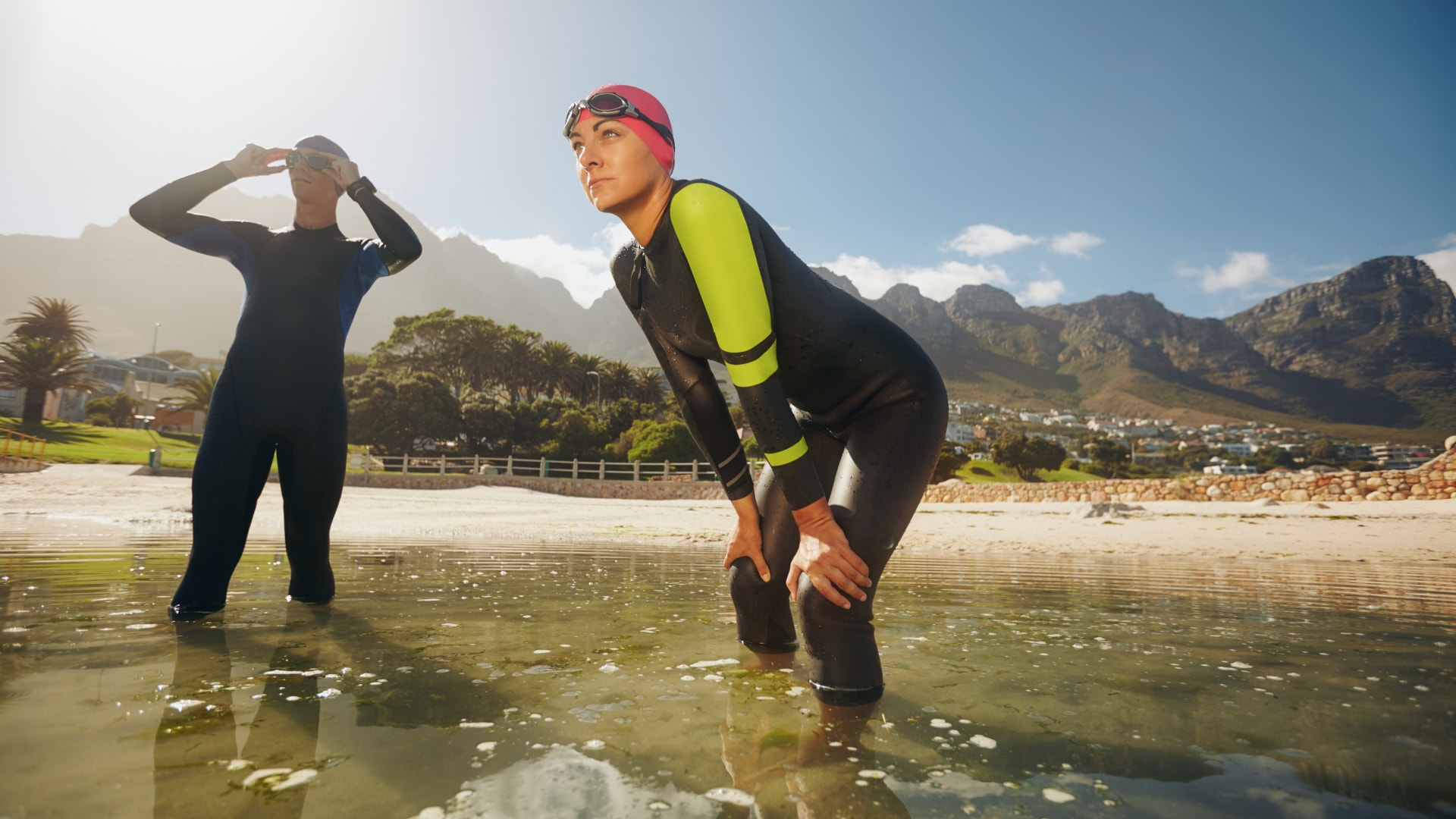 Man and woman participating In a triathlon