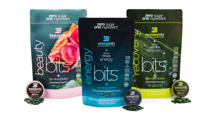 beautybits, energybits, and recoverybits bags of algae tablets