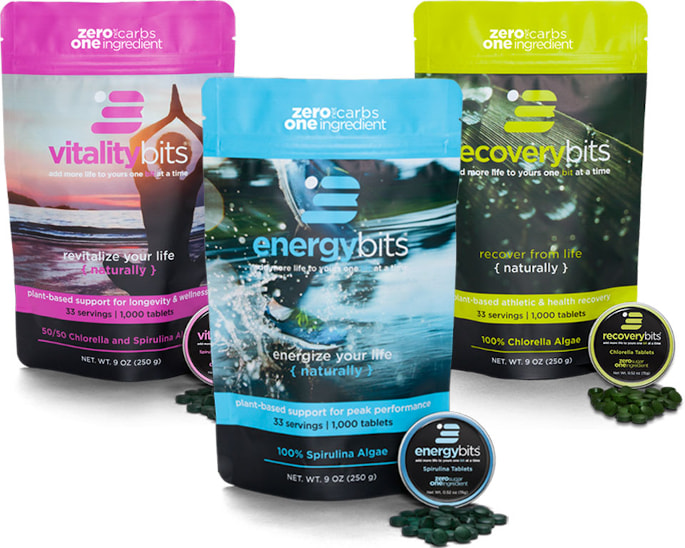 energybits, recoverybits, and vitalitybits bags of algae tablets