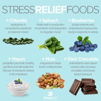stress-relieving foods include chlorella, spinach, blueberries, yogurt, nuts, and dark chocolate.