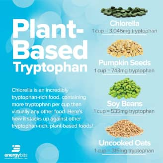 Tryptophan-rich foods include chlorella, pumpkin seeds, soy beans, and uncooked oats