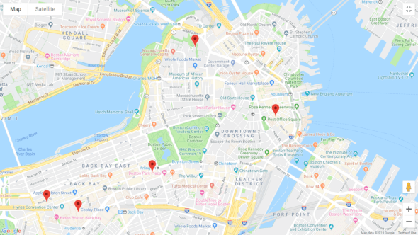 A map of energybits retailers in Boston, Massachusetts
